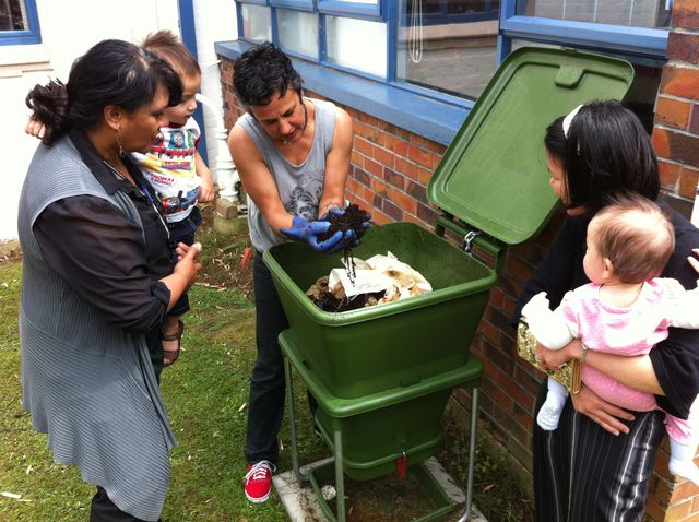 Hungry Bin Worm Farm - A hungry bin installed at the Grey Lynn Community Library.