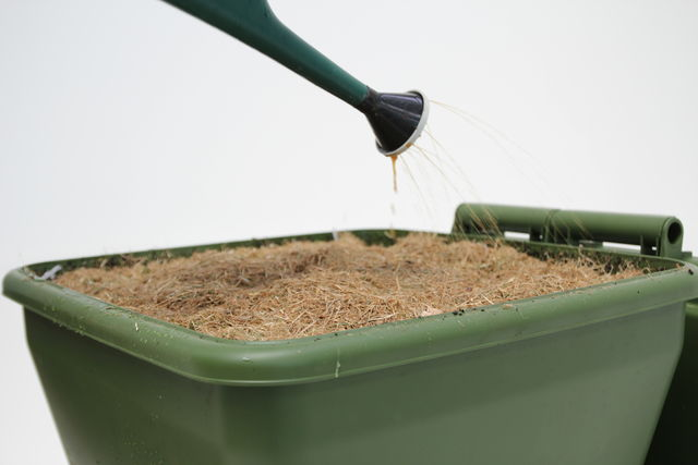 Hungry Bin Worm Farm - Adding water to a freshly started hungry bin to ensure the bedding is fully saturated.